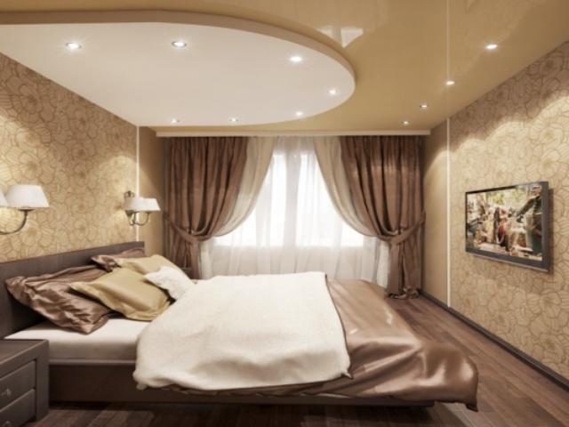 Двух уровневый потолок , в спальной